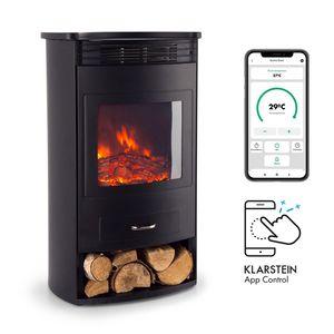 Klarstein Bormio Smart Elektrokamin  ,  950/1900W  ,  Thermostat  ,  Wochentimer  ,  OpenWindow Detection  ,  App-Steuerung  ,  verschiedene Flammeneffekte  ,  zuschaltbare Heizung  ,  Stauraum für Holzscheite  ,  schwarz