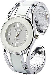 Eleoption Armband Design, Strass Zifferblatt, Edelstahlarmband, Quarzuhr für Frauen, Weiß