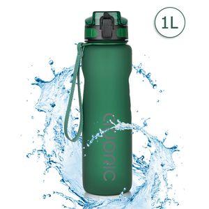 ADORIC Sport Trinkflasche, [BPA Frei Tritan] 1L Auslaufsicher Kunststoff Wasserflasche Sport, Sportflasche Fahrrad für Camping Freien, Outdoor, Yoga, Gym,Dunkelgrün