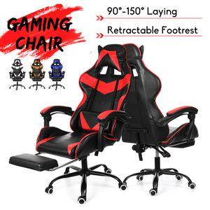 Profi Chefsessel Bürostuhl Gaming Stuhl 90°-160° + Fußstütze Ergonomie Drehstuhleinstellbar Hochwertig Lederkissen Rot