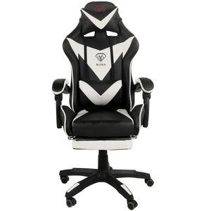 Gaming Stuhl Home Office Chair Racing Chefsessel Bürostuhl Sportsitz Büro Stuhl, Farbe:Schwarz/Weiß