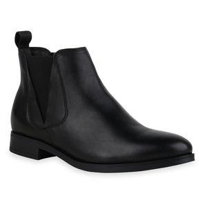 Mytrendshoe Damen Chelsea Boots Stiefeletten Blockabsatz Schuhe 836013, Farbe: Schwarz, Größe: 39