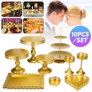 10 Stück Set Kristall Gold Metall Kuchenhalter Hochzeit Party Teller Cupcake Stand