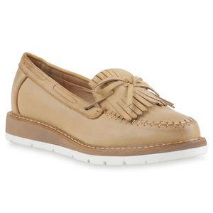 Mytrendshoe Damen Slipper Mokassins Fransen Profilsohle Schuhe 815809, Farbe: Creme, Größe: 39