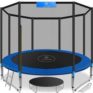 KESSER® - Trampolin    SÜD GS    Komplettset mit Sicherheitsnetz, Leiter,  Randabdeckung & Zubehör   Kindertrampolin Gartentrampolin Belastbarkeit 150 kg, Farbe:Blau, Größe:305 cm