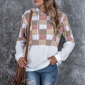 Womens Winter Fashion Warm Fleece Plüsch Taschenmantel Plaid Sweater Top Bluse Größe:XL,Farbe:Kupfer