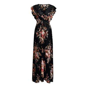 V-Ausschnitt kurzärmliges langes Kleid schwarz  XL Größe
