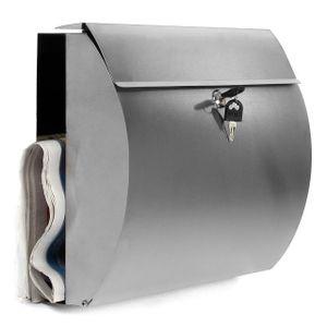 Design-Briefkasten aus rostfreiem Edelstahl, Briefkasten mit Zeitungsfach, abschließbare Mailbox , Postkasten 30x38x12,5cm
