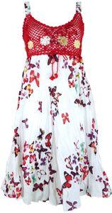 Boho Minikleid, Sommerkleid Schmetterling, Krinkelkleid - Weiß/rot, Damen, Baumwolle,Polyester, Kurze Kleider