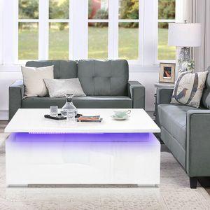 LED RGB Couchtisch hochglanz Sofatisch Wohnzimmertisch Beistelltisch Kaffeetisch Weiß