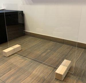 Elmato Hygiene Tröpfchenschutz Schutzscheibe Trennwand Schutzwand Thekenaufsatz XL, 100x77cm