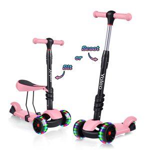 Yoleo 3-in-1 Kinder Roller Scooter mit Abnehmbarem Sitz, LED große Räder, Höheverstellbaren Lenker für Kleinkinder Jungen Mädchen ab 2 Jahre (Rosa)