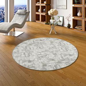Snapstyle Designerteppich Hellgrau Trend Rund, Größe:133 cm Rund