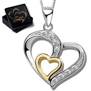 Damen Herzkette 40cm Kette mit Herz Anhänger 925 Echt Sterling Silber Frauen Halskette K829+V11