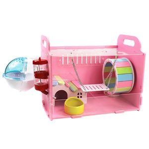 Hamsterkäfig Nagerkäfig Mäusekäfig mit Trinkflasche Badewanne Haus Laufrad für Hamste, Ratten, Mäuse, Meerschweinchen, Igel Farbe blaue einzelne Schicht