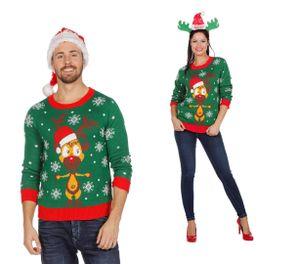 Wilbers Weihnachtspullover Rentier grün S - XXL  Weihnachtspulli Christmas Pulli Gr. S