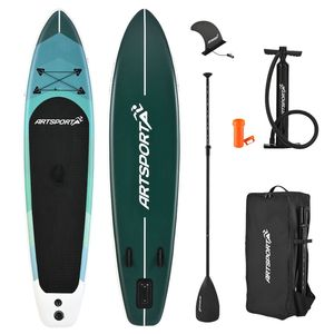 ArtSport Stand Up Paddle Board Blue Wave aufblasbar – SUP Board Set mit Pumpe, Paddel, Tasche und Zubehör – Tragkraft bis 150 kg – Blau gestreift