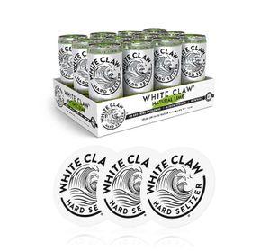 White Claw natural Lime 12er Set je 330ml (4,5% Vol) + 3 Untersetzer ready to drink / Longdrink sparkling hard seltzer - [Enthält Sulfite]
