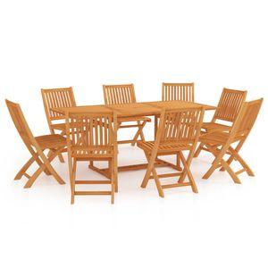 Gartenmöbel Essgruppe 8 Personen ,9-TLG. Terrassenmöbel Balkonset Sitzgruppe: Tisch mit 8 Stühle Massivholz Teak❀1634