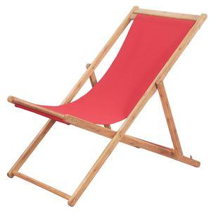 Hochwertigen Klappbarer Strandstuhl/Relaxliege/Strandliege/Gartenliege Stoff und Holzrahmen Rot #DE4919