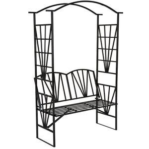 tectake Rosenbogen mit Sitzbank 210 cm - schwarz