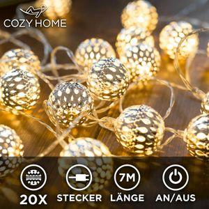 CozyHome marokkanische LED Lichterkette – 7 Meter | Mit Netzstecker NICHT batterie-betrieben | 20 LEDs warm-weiß | Kugeln Orientalisch | Deko Silber – kein lästiges austauschen der Batterien mit An-/Aus-Schalter