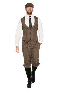 20er Jahre Peaky Blinders Anzug Knickerbocker Herren Kostüm Braun-Beige, Größe:46