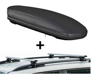 Dachbox VDPMAA320 320Ltr abschließbar schwarz matt + Dachträger CRV135 kompatibel mit Volkswagen Touran (5 Türer) 2003-2014
