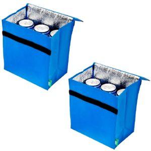 2er Set Mini Kühltasche Isoliert Blau Für 6 Dosen | Thermotasche Klettverschluss Campingtasche | Isoliertasche Kühlkorb | Camping Picknicktasche