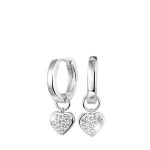 Zilveren oorbellen kristal hanger hart