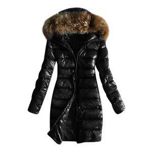 Frauen Outwear gesteppte Winter warme Mäntel Kragen Kapuzenjacke Tops Größe:M,Farbe:Schwarz