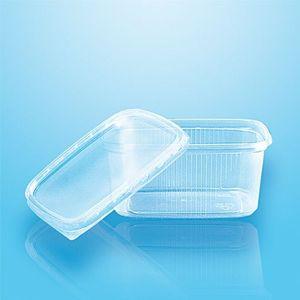 50 tradingbay24 Verpackungsbecher mit Deckel, PP eckig 250 ml 5,1 cm x 8,69 cm x 11,4 cm transparent tbU95074 Feinkostbecher Salatbecher Dressingbecher transparent