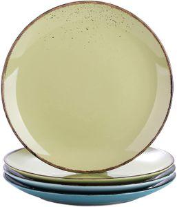 vancasso Navia Prato Desserteller aus Steingut, 4 teilig Kuchenteller in 4 Farbkombi (Hellblau, Seeblau, Grasgrün, Gelbgrün), Vintage Aussehen