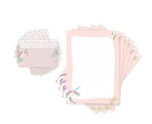 Friendly Fox Kinder Briefpapier EINHORN - Briefpapier mit Linien - 20 Blatt mit Umschlag - Briefpapier für Kinder Mädchen Jungen