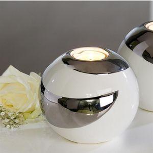 Casablanca Extravagante und Moderne Teelichtleuchte Teelichthalter CREOLE aus Keramik weiß/silber Durchmesser 12 cm 26532