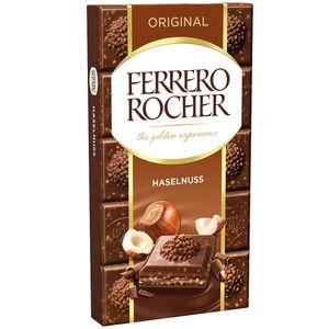 Ferrero Rocher Original Vollmilchschokoladentafel mit Haselnüssen 90g