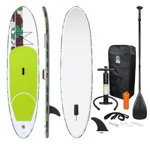 ECD Germany Aufblasbares Stand Up Paddle Board   308 x 76 x 10 cm   Grün   PVC   bis 120kg   inkl. Pumpe Tragetasche und Zubehör   SUP Board Paddling Board Paddelboard Surfboard   verschiedene Farben