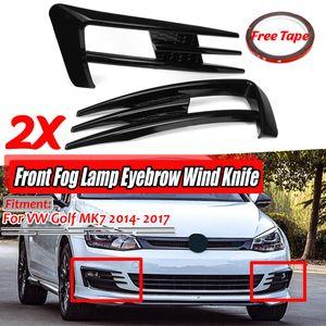 Nebelscheinwerfer Augenbraue Abdeckung Glanz Schwarz für VW Golf MK7 2014- 2017