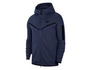 Nike M Nsw Tch Flc Hoodie Fz Wr - midnight navy/black, Grobe:S