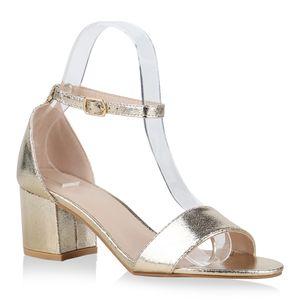 Mytrendshoe Klassische Damen Sandaletten Mid Heel Blockabsatz Schuhe 826401, Farbe: Gold, Größe: 38