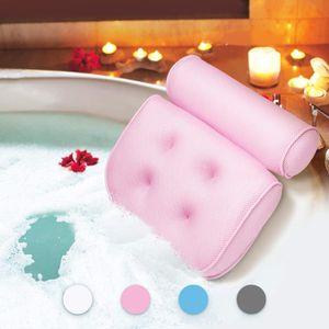 Badewannenkissen,Komfort badewanne kopfkissen mit Saugnäpfen, badewanne nackenpolste für Home Spa Whirlpools, Rosa Kopfstütze (33 x 36 x 8.5 cm)