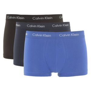 Calvin Klein Herren Boxershorts Baumwolle Stretch Low Rise 3er Pack BLUE L