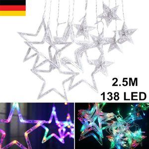 Miixia Miixia Sterne Led Lichterkette Lichtervorhang Lichtnetz Fenster Garten Außen Bunt RGB Sternenvorhang Weihnachtsdeko 2.5 Meter 138 LED