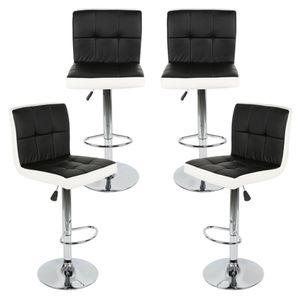 4er-Set Barhocker aus Kunstleder,Höhenverstellbar,360° frei drehbar Schwarz+Weiß