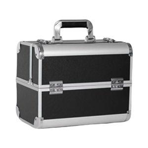 Kosmetikkoffer Beauty Case Schminkkoffer Friseurkoffer Schmuckkoffer, 4 verstellbare Tabletts und 2 Trennwänden für Kosmetika und Werkzeugen Größe Silber + Schwarz