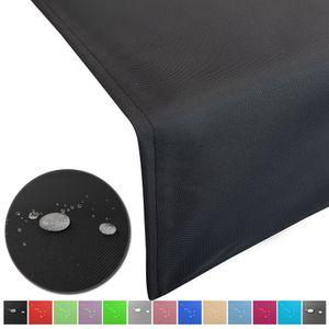 Outdoor Tischläufer Lounge 50 x 200 cm in Schwarz mit Lotuseffekt wasserabweisende & abwaschbaren Tischdecken - Tischband Gartentischdecke pflegeleicht und wetterfest