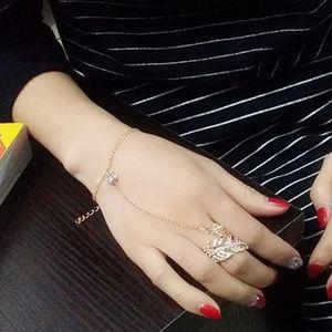 Mode Armband Armreif Sklave Kettenglied Fingerring Handgeschirr Gold