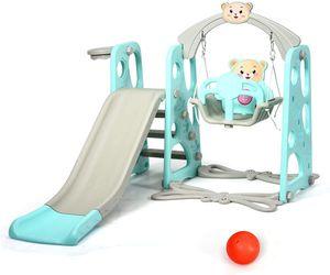 GOPLUS 3 in 1 Spielplatz, Spielplatz mit Kinderrutsche & Schaukel & Basketballkorb & Leiter, Spielturm für Indoor/Outdoor, Spielgerät ab 1 Jahr, Belastbarkeit bis zu 50 Kg