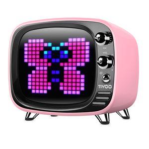 Divoom TIVOO Bluetooth v5.0 Lautsprecher mit Smart Pixel Art Display, Farbe:pink