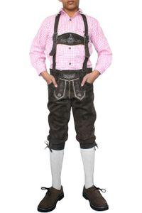 German Wear, Jungen Kniebundhosen kinder Trachtenlederhose lederhose Dunkelbraun, Größe:128